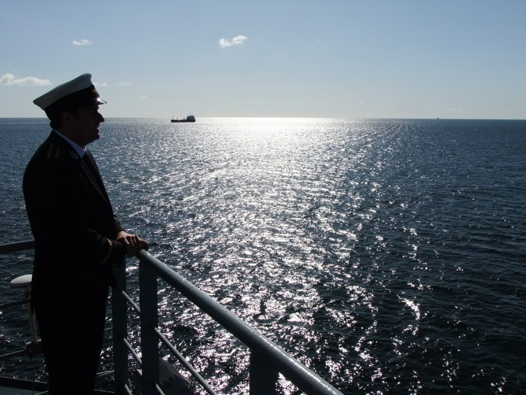Laying a wreath for the Titanic, April 2012, off Cork harbour, on the site where the ship docked in April 1911