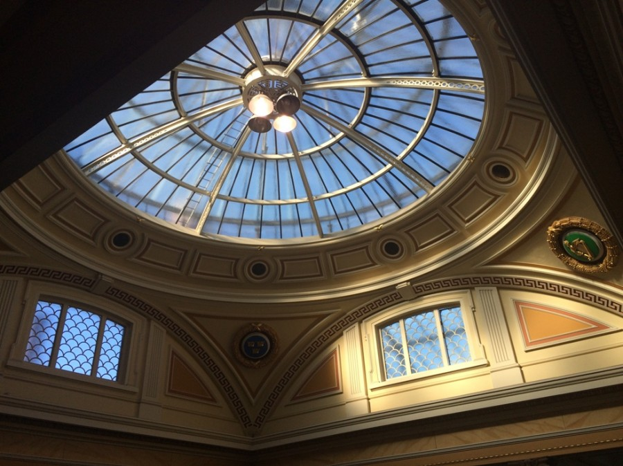 Spring light through the beautiful dome of 66 AIB South Mall; the building or the old Munster and Leinster Bank celebrates its centenary this year (1915-2015), 3 March 2015
