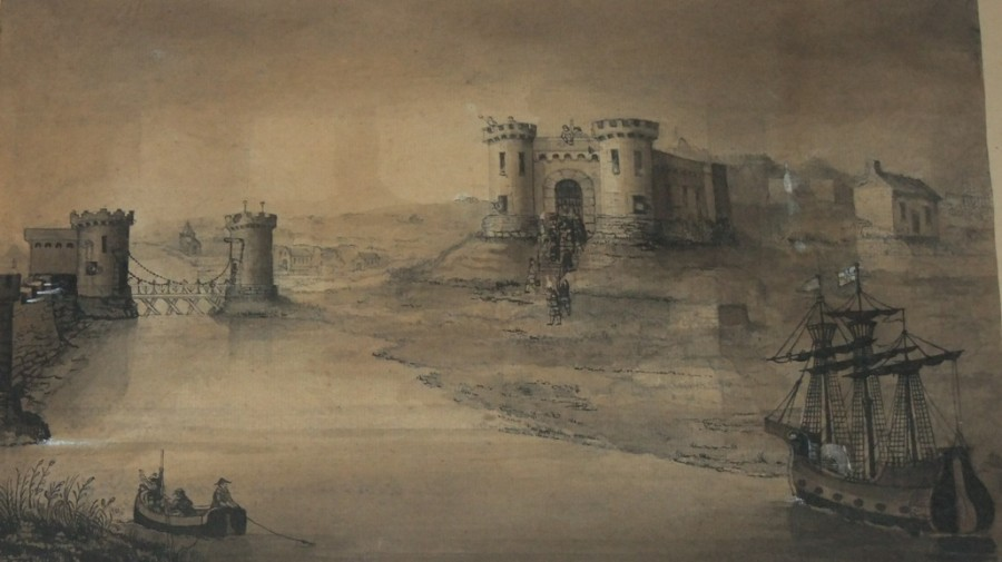 Depiction of Shandon Castle, Cork, c.1603; subject of Kieran McCarthy's Our City, Our Town article, Cork Independent, late April 2015