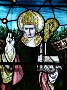 St.Finbarre in stained glass window in SS Finbarre's and Ronan's Church, Ballingeary, Co. Cork