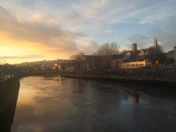 Sunset over Cork's north channel of the River Lee and Pope's Quay, 2 February 2016