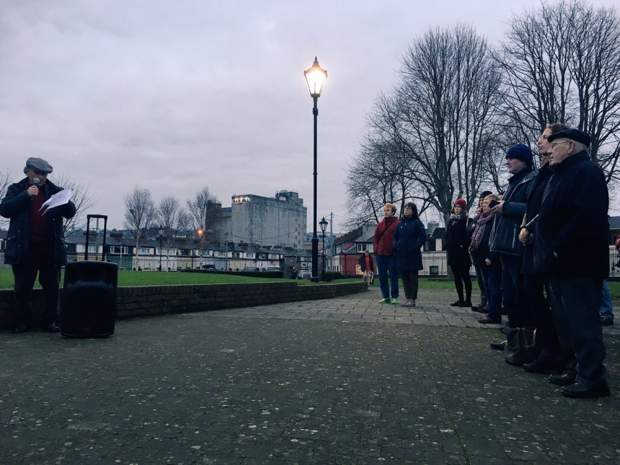 Evening Echo light installation, artist, Maddie Leach with National Sculpture Factory and Cork City Council, Shalom Park, Cork City, 31 December 2016