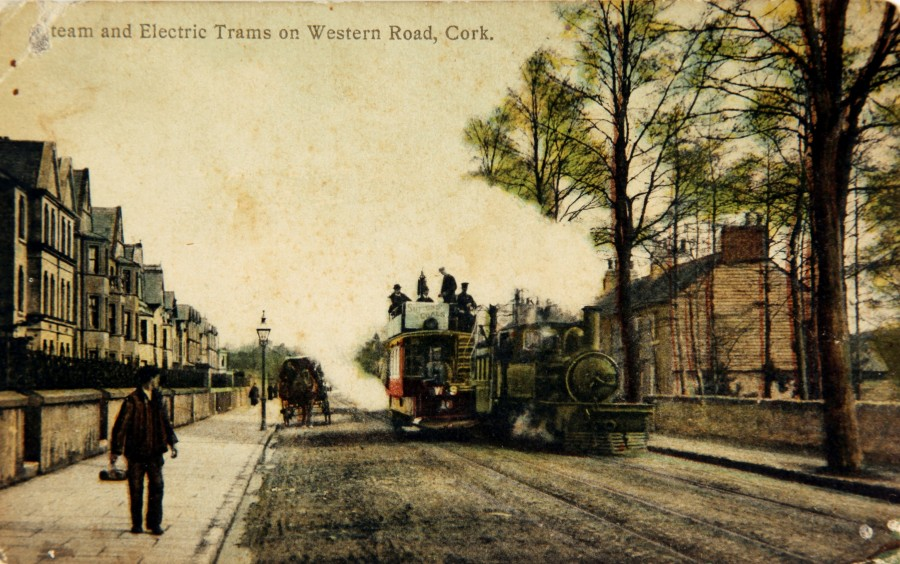 Cork Muskerry Tram Locomotive on Western Road Cork City, c.1910,subject of Kieran McCarthy's Our City, Our Town column, February 2017