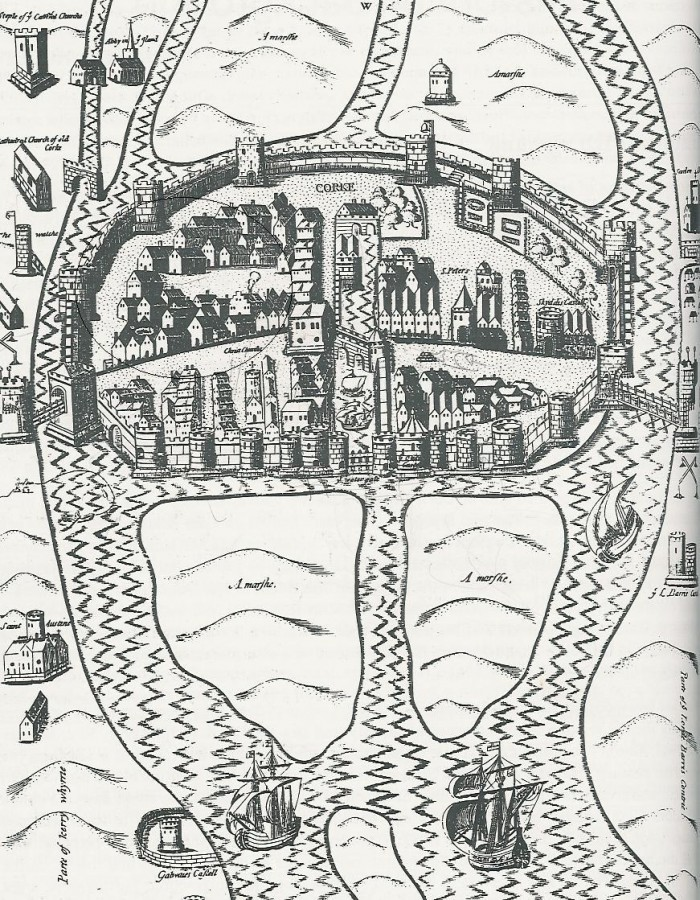 2. Walled Town of Cork , c.1600 from George Carew's Pacata Hibernia