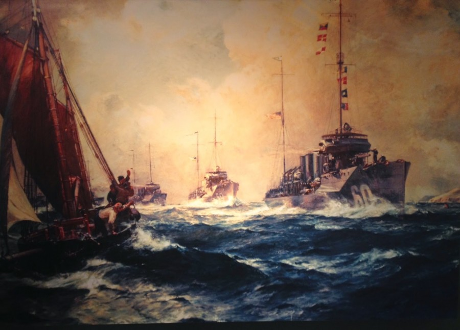 Bernard F Gribble's painting, The Return of The Mayflower; Assistant Secretary of the Navy Franklin D Roosevelt commissioned the painting in 1919, to remember the arrival of the American Navy to Queenstown, 4 May 1917