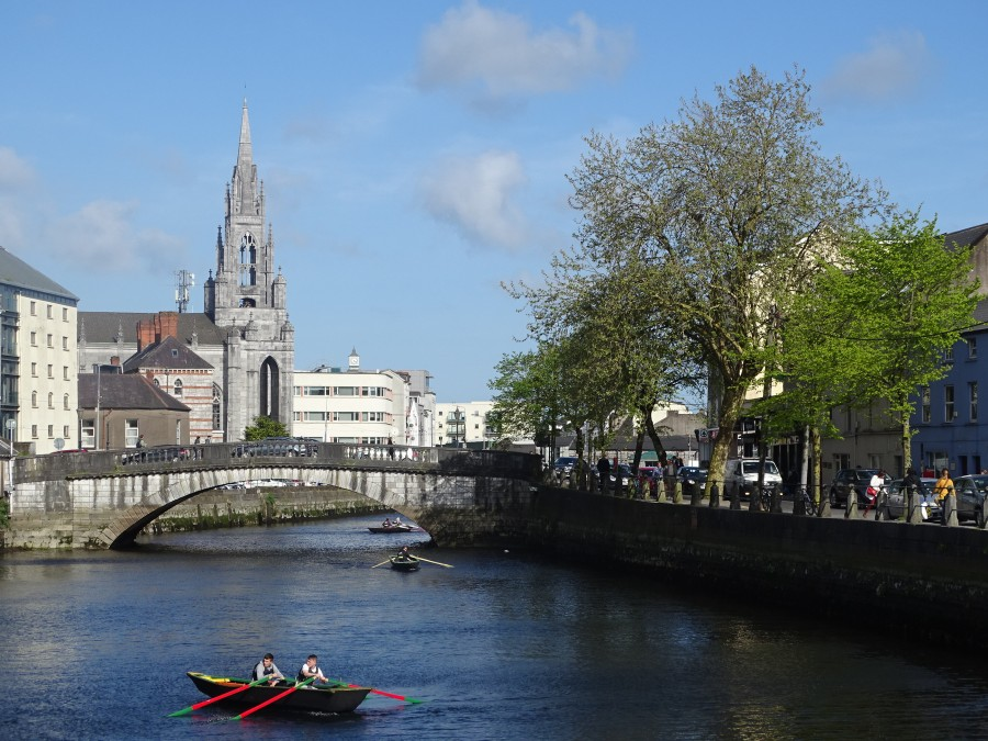 South channel of River Lee, Cork, with Holy Trinity Church, 2018