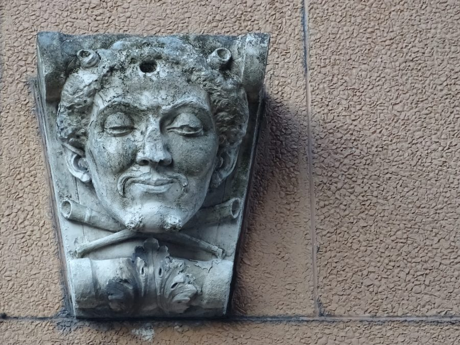 Head sculpture, from former Sutton's Buildings, South Mall (picture: Kieran McCarthy)