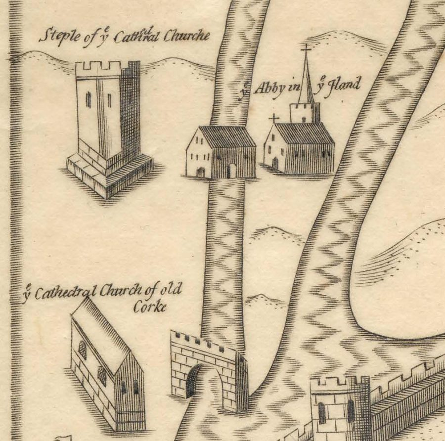 Dominican Abbey in Map of Cork, late sixteenth century as depicted in Sir George Carew's Pacata Hibernia (source: Cork City Library)