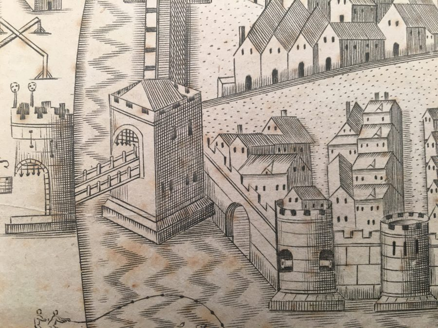 South Gate Drawbridge in Map of Cork, late sixteenth century as depicted in Sir George Carew's Pacata Hibernia (source: Cork City Library)