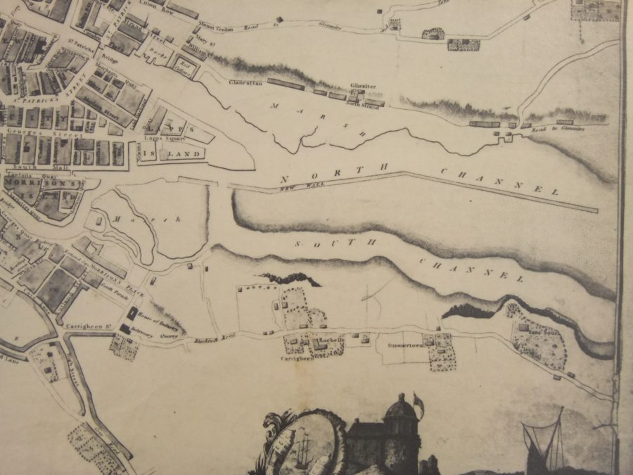 The New Wall or Navigation Wall, from Beaufort's Map of Cork 1801    (source: Cork City Library)