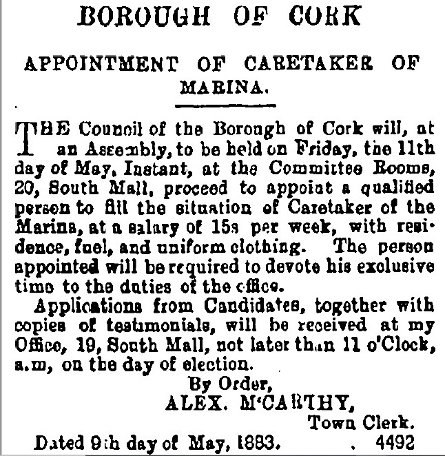 Advertisement in the Cork Examiner for Caretaker of Marina, 1883  (source: Irish Examiner)