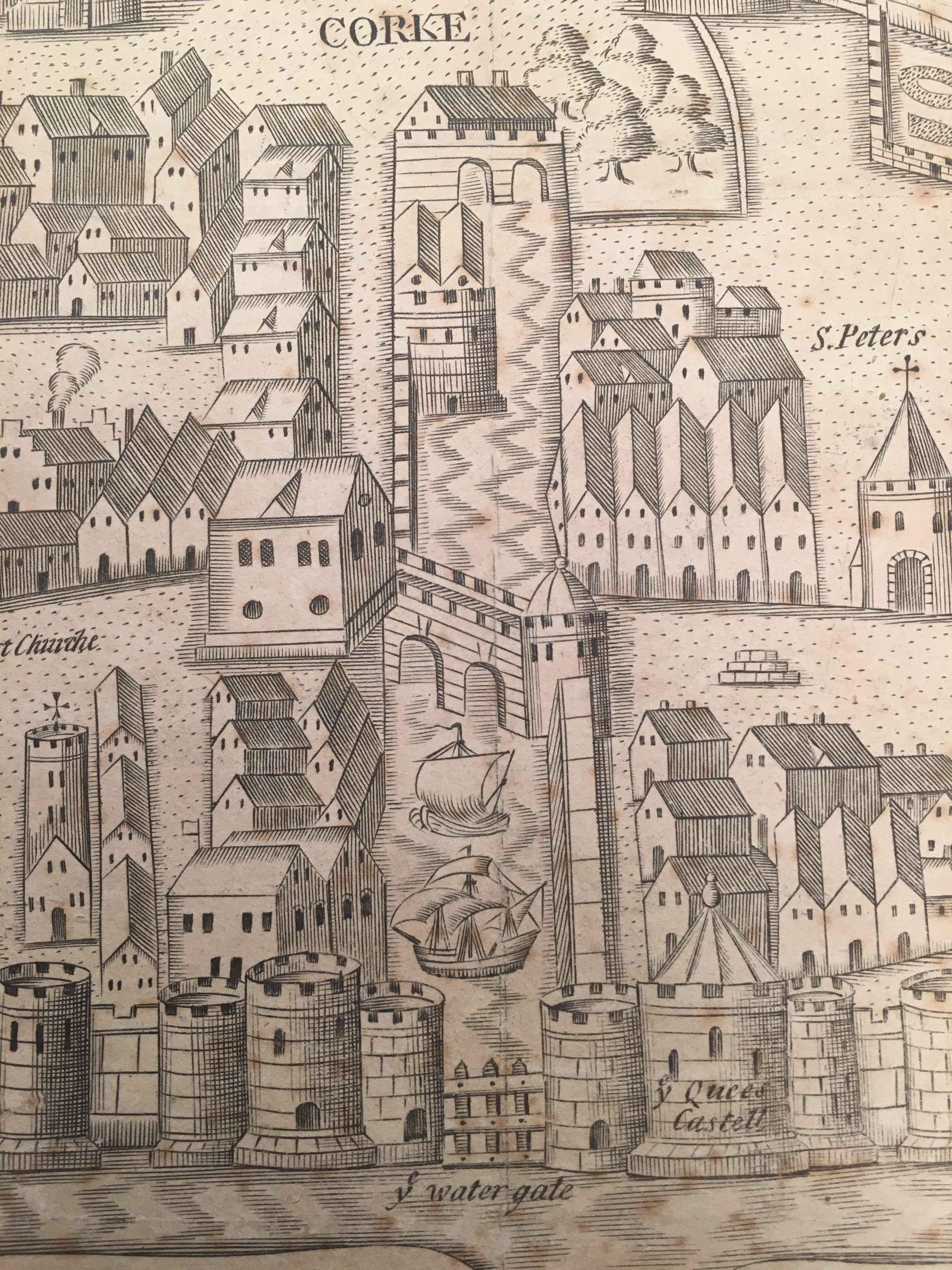 Watergate complex as depicted in George Carew's Pacata Hibernia, c.1600  (source: Cork City Library)