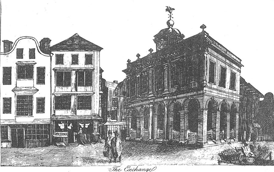 Sketch of Cork Tholsel or Exchange, c.1750 by Charles Smith (source: Cork City Library)