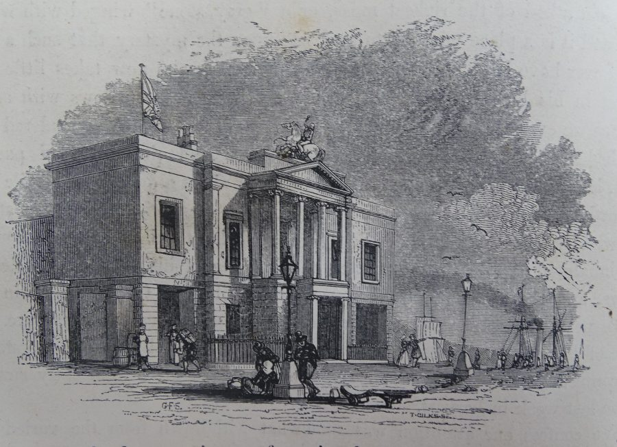 St George's Steam Packet Office, 1843 ; Source: Ireland: Its Scenery and Character (1843, Volume I) by Mr and Mrs S C Hall (Virtue & Co, London). Drawn by W Willes, engraved by Gilks