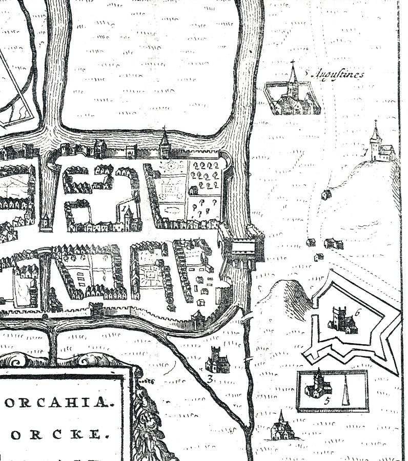 Depiction of Red Abbey, Cork, top right by John Speed, c.1600 (picture: Cllr Kieran McCarthy)