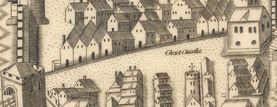 South Main Street, late sixteenth century as depicted in Sir George Carew's Pacata Hibernia, c.1600 (source: Cork City Library)