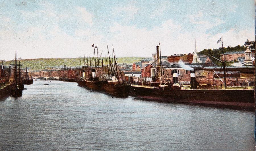 9c. Steamships at Penrose Quay, c.1910