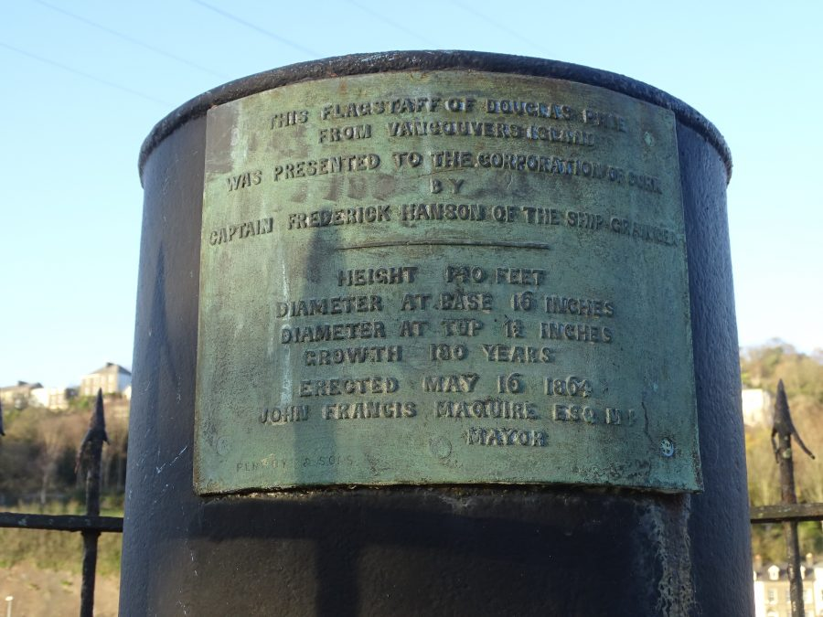 Inscription on Captain Hanson Flag Pole, The Marina, Cork, present day (picture: Kieran McCarthy)