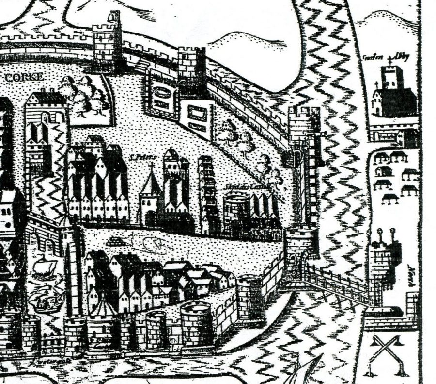 Franciscan Abbey, top right, c.1600 (source: Cork City Library)