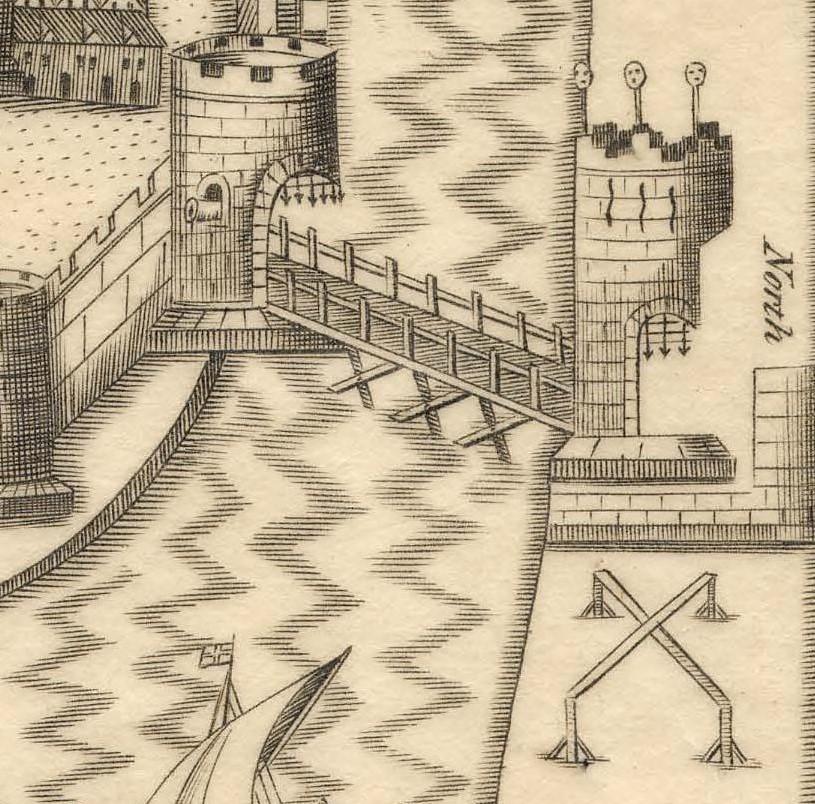 North Gate Drawbridge, late sixteenth century as depicted in Sir George Carew's Pacata Hibernia (source: Kieran McCarthy)