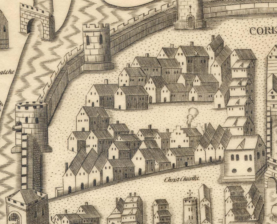 Cork Corporation District in Map of Cork, late sixteenth century as depicted in Sir George Carew's Pacata Hibernia (source: Cork City Library)