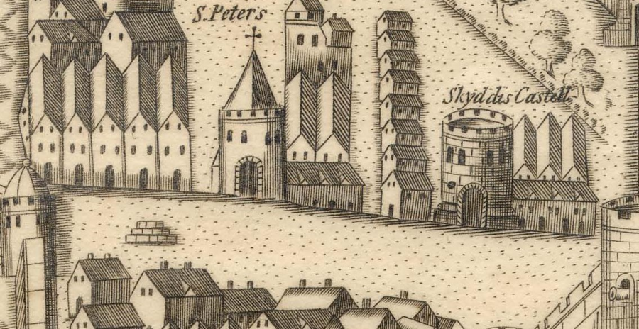 Blocks left centre or the Town Cross in Map of Cork, late sixteenth century as depicted in Sir George Carew's Pacata Hibernia, c.1600 (source: Cork City Library)
