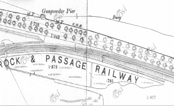 Gunpowder Pier, The Marina, Cork, from Ordnance Survey Ireland, 1910 (source: Cork City Library)
