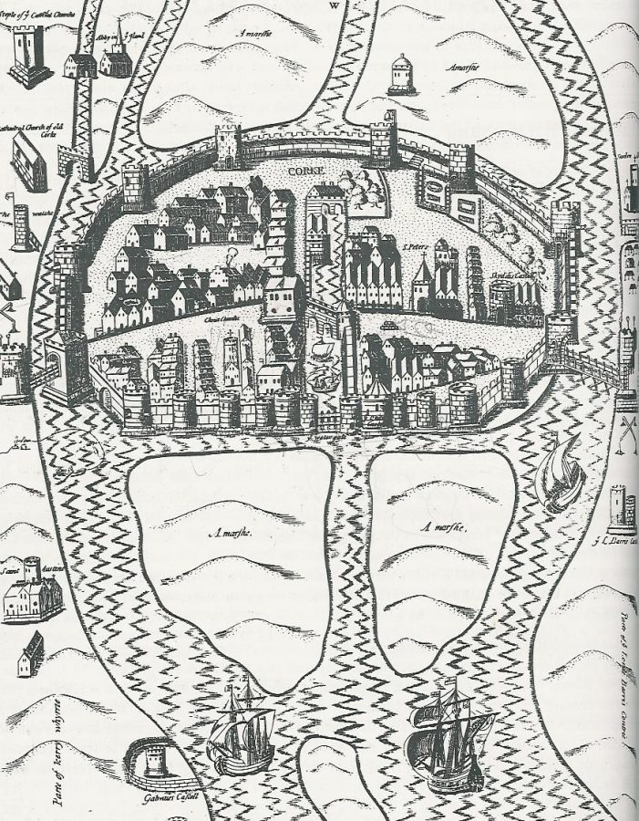 Map of Cork, late sixteenth century as depicted George Carew's Pacata Hibernia (source: Cork City Library)