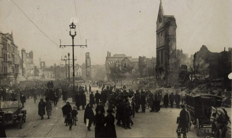 Aftermath of the Burning of Cork on St Patrick's Street, photograph by W Hogan (source: National Library of Ireland)