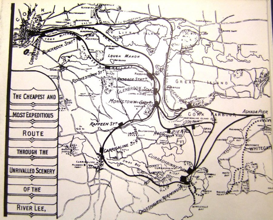 Map of Cork Blackrock and Passage Railway to Carrigaline, c.1920 (source: Cork City Library)