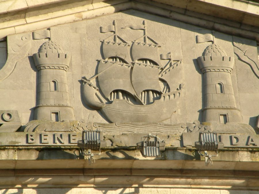 Coat of Arms on Port of Cork or former Cork Harbour Commissioners building, June 2020 (picture: Kieran McCarthy)