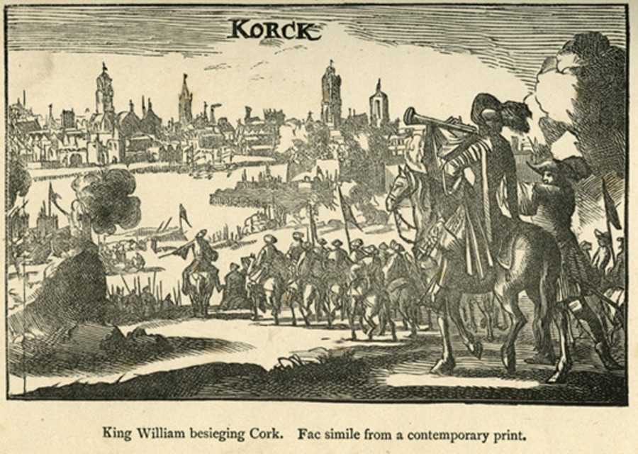 Williamite Army approaching the Walled Town of Cork (source: Cork City Library)
