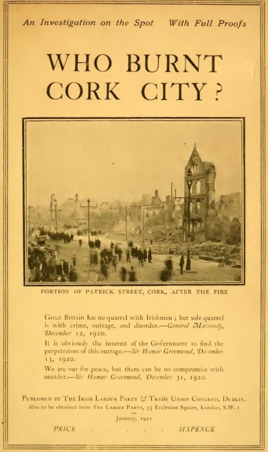 Title Page of Who Burnt Cork City, 1921, (source: Cork City Library)