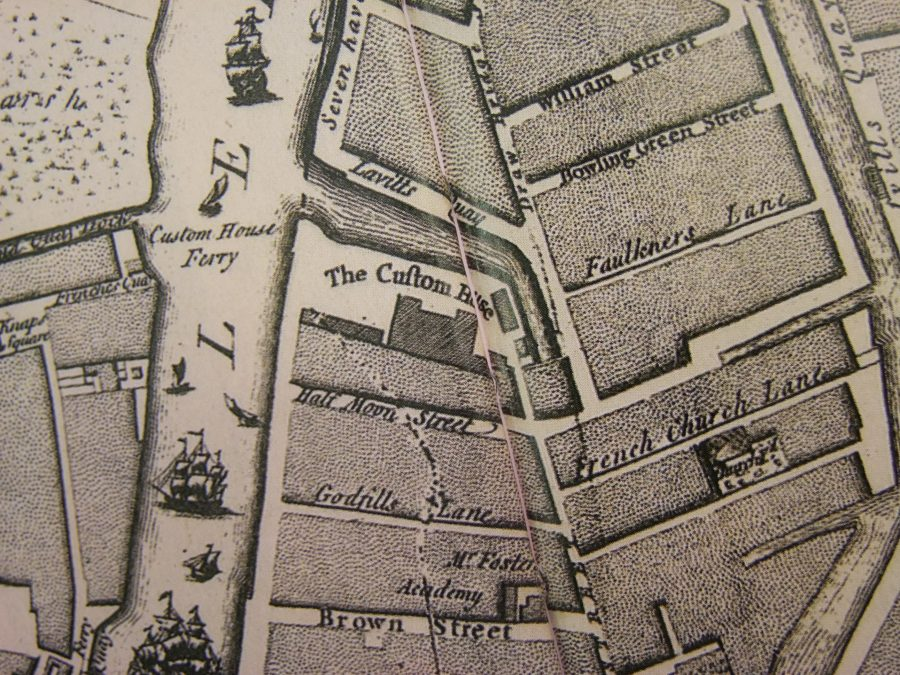 Huguenot graveyard 1773 as depicted by John Rocque (source: Cork City Library)