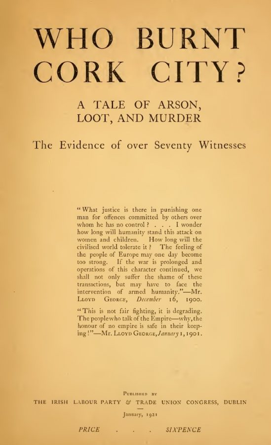 Inside Title Page of Who Burnt Cork City, 1921, (source: Cork City Library)