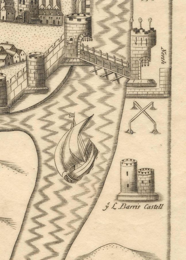 Plan of Shandon Castle, from Map of Cork, late sixteenth century as depicted in Sir George Carew's Pacata Hibernia, or History of The Wars in Ireland (1633), vol. 2, opp page 137.