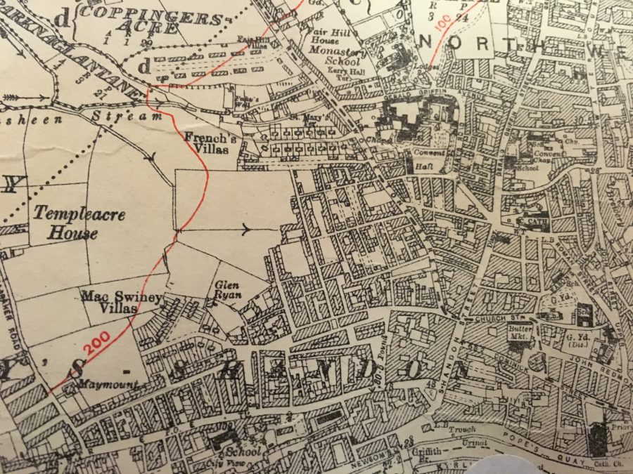 Map of Slums, c.1910, north west ward of Cork City (source: Cork City Library)