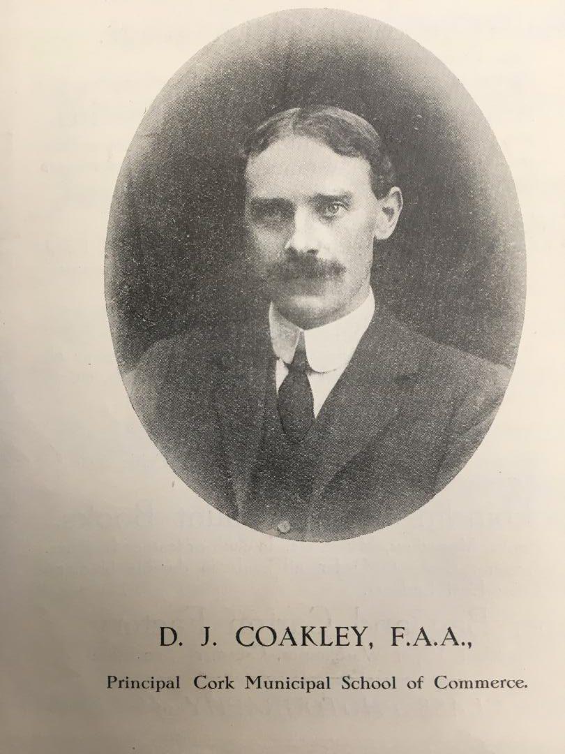 D J Coakley, Principal, Cork School of Commerce, c.1917 (picture: Cork City Library)