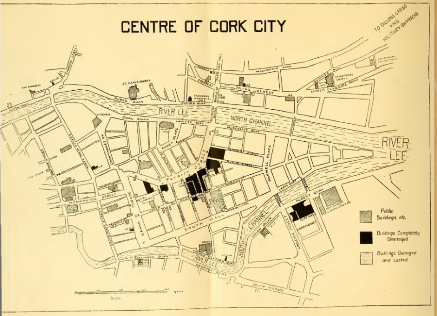 Map of burnt out sites, Burning of Cork, December 1920 from the publication Who Burnt Cork City, 1921 (source: Cork City Library)