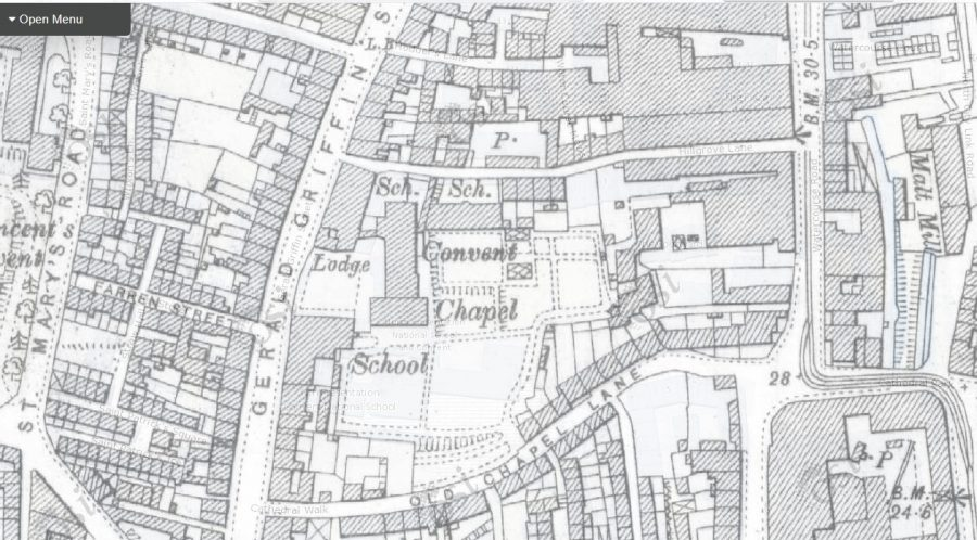 Map of site of Presentation Sisters' Convent Chapel, Gerald Griffin Street, 1911 (source: OSI.ie)