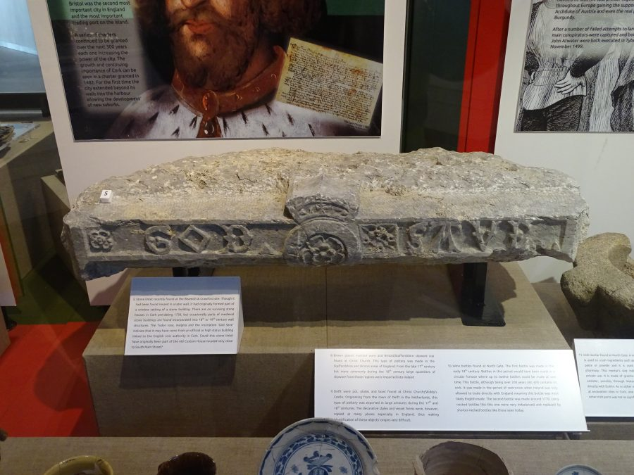 Former stone lintel of chimneypiece, discovered at recent excavations on the former Beamish and Crawford site - reputed to be part of a municipal building - it is now an exhibit in Cork Public Museum (picture: Kieran McCarthy)