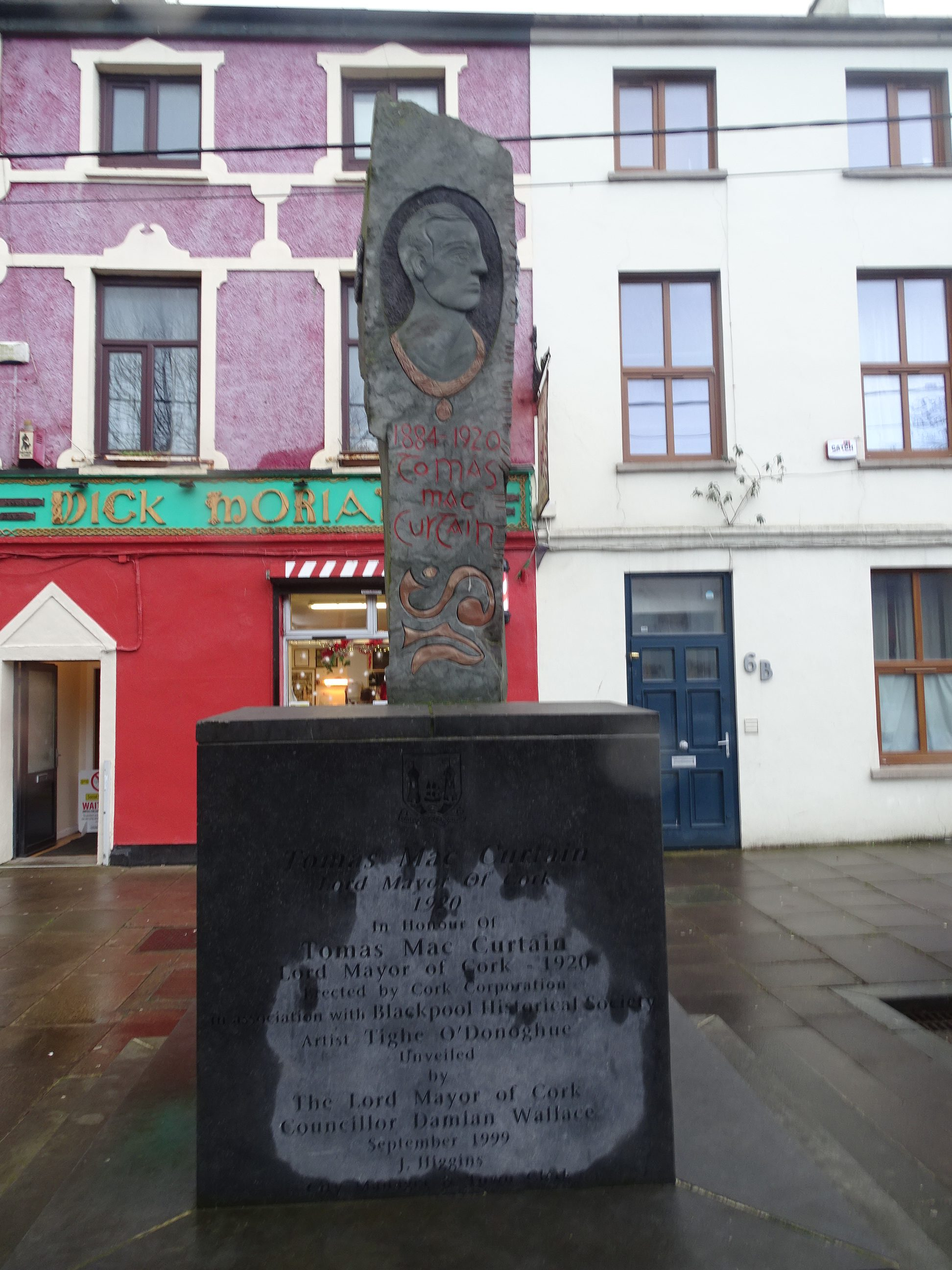 Tomás MacCurtain Memorial, Blackpool erected in 1999 with a design by Tighe O'Donoghue (picture: Kieran McCarthy)