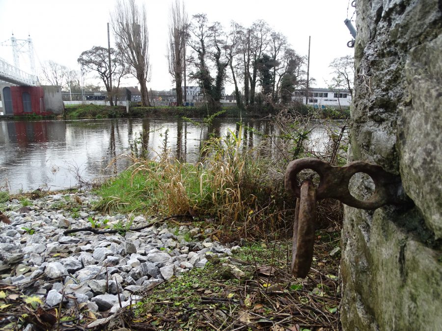 Remains of ferry mooring post adjacent Daly's Bridge, present day (picture: Kieran McCarthy)