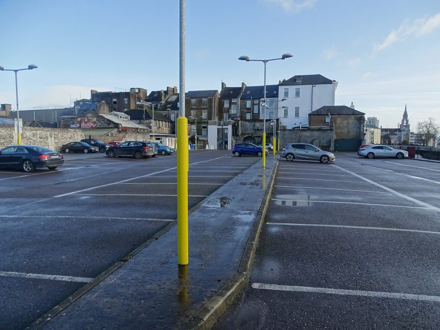Present day Grand Parade City Carpark, Cork; the curbing from the foreground to the centre marks the line of the town wall running eastwards (picture: Kieran McCarthy)