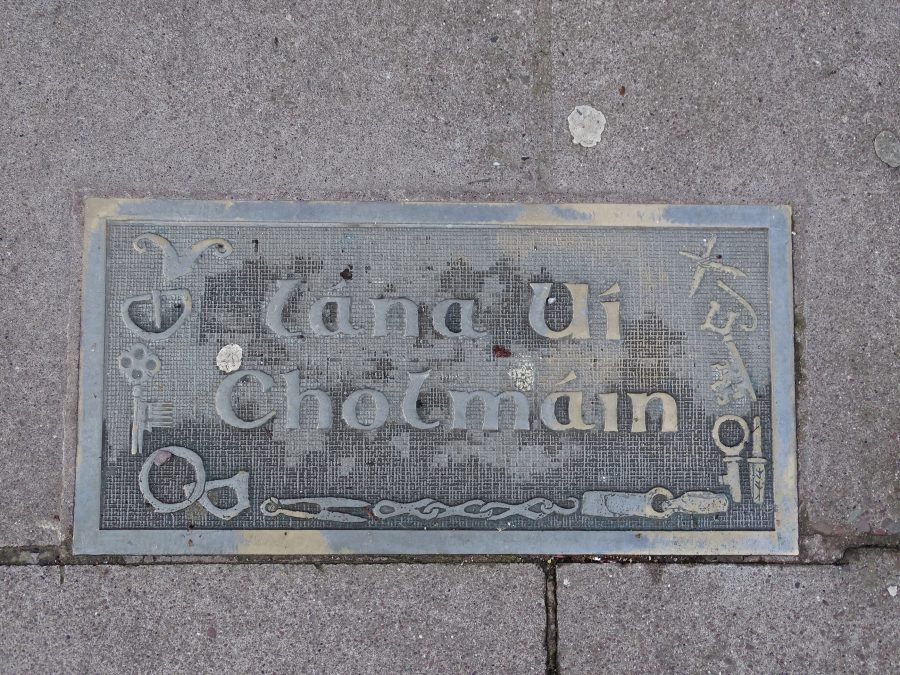 Heritage plaque depicting medieval iron objects at Colman's Lane, North Main Street, present day (picture: Kieran McCarthy)