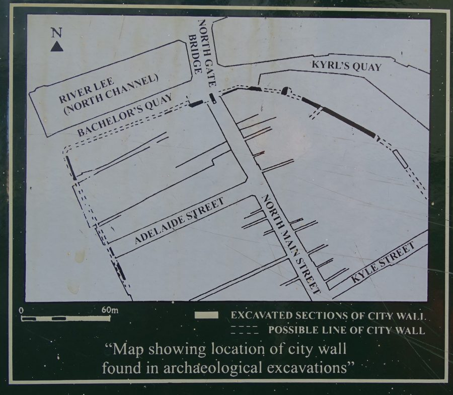 Picture of sketch map showing excavated sections of town wall, from Cork Corporation interpretative panel upon Supermac's wall, North Main Street; the Kyrl's Quay section is in top right.