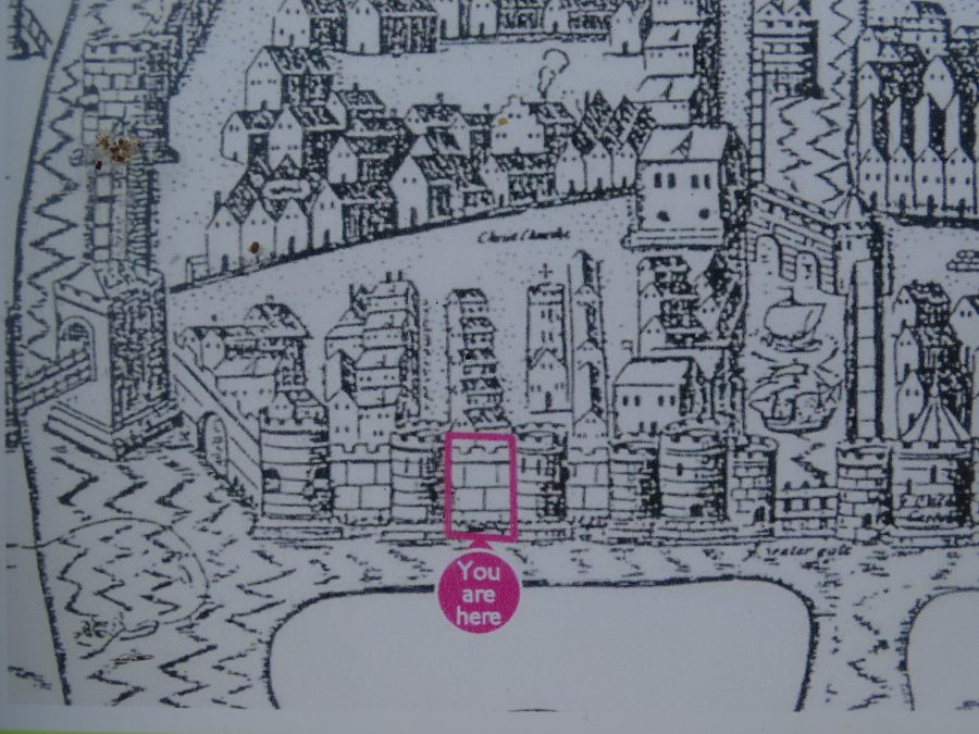 Site of Bishop Lucey Park town wall from interpretative panel at Bishop Lucey Park - late sixteenth century as depicted in George Carew's Pacata Hibernia, c.1600 (source: Cork City Library)
