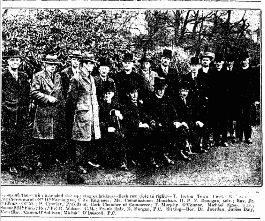 Invited guests at opening of Daly's Bridge, 9 April 1927 including Stephen Farrington and James Daly (picture: Irish Examiner archive)