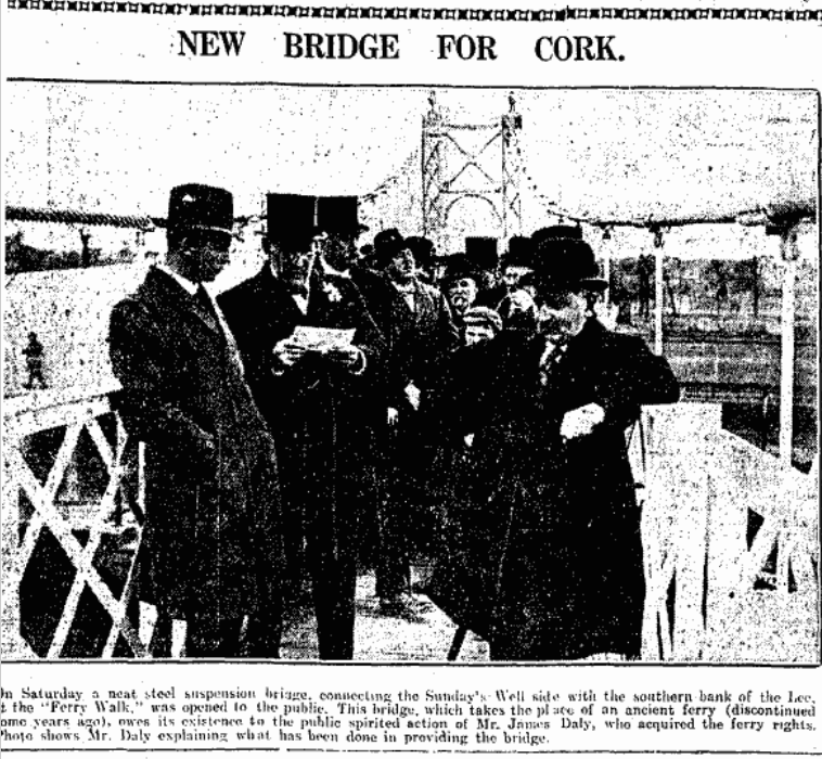 James Daly giving last minute notes at the cutting of the ribbon on Daly's Bridge, 9 April 1927 (source: Irish Examiner Archive)