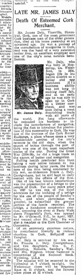 1942 Obituary of James Daly (source: Irish Examiner Archives)